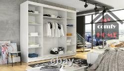 New Modern Wardrobe NOTSA 3 Sliding Doors Mirror Hanging Rail Shelves 250 cm
