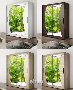 New Wardrobe WENDY 10 Mirror Sliding Doors Hanging Rail Shelves width 150cm