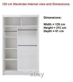 New York 2 Doors Mirrored Sliding Wardrobes in Grey 5 Sizes SEE DESCRIPTION