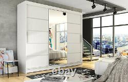 Notsa 6- 3 Sliding Door Wardrobe With Mirror, Hanging Rail And Shelves. White