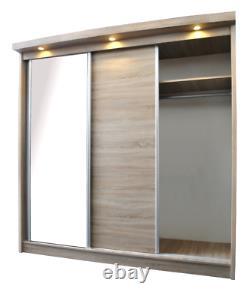 Oak Effect 3 Door Sliding Wardrobe With LED Lights W210cm D63cm H212cm LASSIE