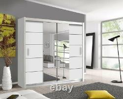 Oslo Modern Mirror sliding door wardrobe with LED Width 203cm