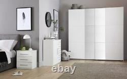 Rauch Fellbach White 2 Door Sliding Wardrobe with Mirror 218cm