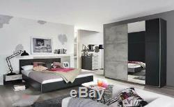 Rauch'Lenny' Sliding Door Wardrobe, Concrete & Anth. German Bedroom Furniture