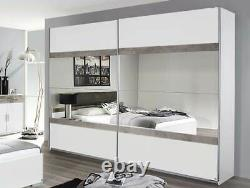 Rauch'Penzberg' 270cm Sliding-Door Wardrobe. German Bedroom Furniture. White