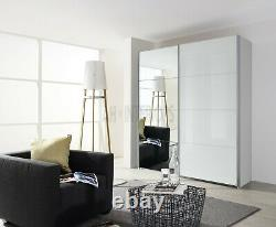 Rauch Stuttgart Sliding 2 Door High Polish White Wardrobe- Free Delivery