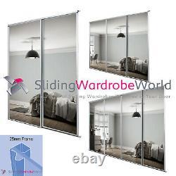 SILVER Framed Mirror Sliding Wardrobe Door Kits (All sizes)
