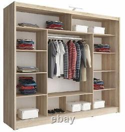 Sarah 250 Alu Large Wardrobe With 3 Sliding Mirrored Doors Aluminum Trims Led