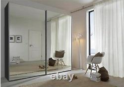 Schlafzimmer Black Full Mirror German Sliding Door Wardrobe, 202, 236, or 301cm