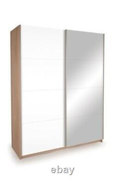 Seattle 2 Door 1.5M Oak Sliding Wardrobe 1 WHITE HIGH GLOSS 1 MIRROR DOOR
