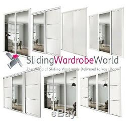 Shaker WHITE & Mirror SpacePro Sliding Wardrobe Door Kits & tracks (All sizes)