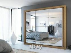 Shetland oak effect wardrobe CLEO 2 250cm 3 sliding doors with mirrors