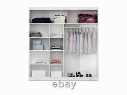 Sliding Door Bedroom Mirror Wardrobe DAKO 1 +LED Light-2 Sizes/White, Grey, Black