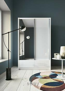Sliding Door Wardrobe with Drawers / Gloss Finish / Mirrored Door / 134cm Width