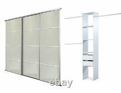 Sliding Wardrobe Doors (4 pane Mirror x 3) & Storage. Up to 2235mm (7ft 4ins)