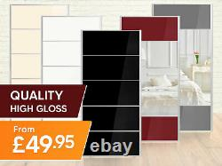 Sliding Wardrobe Doors 650mm(w) x 2000mm(h) Mirrored and solid 7 colours