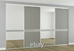 Sliding Wardrobe Doors Kit 2/3/4 Door Made To Measure Mirror & Boston Concrete