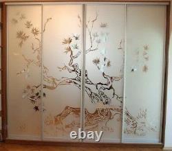 Sliding Wardrobe Mirror Glass Doors. Made To Measure. Sandblasting design