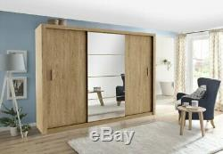 Sliding mirrored door CLEO 1 wardrobe 250 cm shetland oak