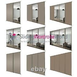 SpacePro STONE GREY & Mirror CLASSIC Sliding Wardrobe Door Kits (All sizes)