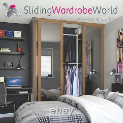 SpacePro'Shaker' OAK & Mirror Sliding Wardrobe Door Kits & tracks (All sizes)