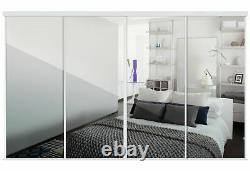 Spacepro Kits 4x30in Classic Floor to Celing Sliding White Mirror Doors