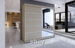 Tally 3- Brand New Wardrobe With Sliding Doors, Full Door Mirror, Sonoma Oak