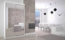 WARDROBE FULL MIRROR Modern sliding doors BEDROOM FURNITURE LIVING white MRDE120