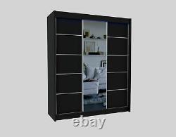 WORDROBE 5 colours 2 drawers, 3 sliding doors MIRROR bedroom furniture MRMA180cm