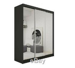 Wardrobe 3 Sliding Mirrored Doors, 2 drawers Modern Bedroom Furniture MRDE 180cm