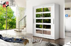 Wardrobe Barbarossa 5 with sliding doors and mirrors 4 colours to choose from