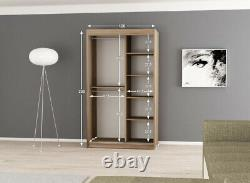 Wardrobe ELYPSE 120 Sliding Doors Mirror Hanging Rail Shelves New