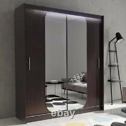 Wardrobe KOLA 11-180 Sliding Doors Mirror Hanging Rail Shelves New