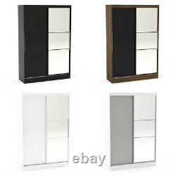 Wardrobe, Lynx Wooden High Gloss 2 Door Sliding Wardrobe with 4 Colour Options