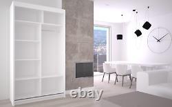 Wardrobe Modern Mirrored 2 Sliding Doors Furniture 120cm MRGR