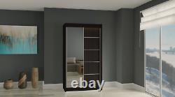 Wardrobe Modern Mirrored 2 Sliding Doors Hallway Bedroom Furniture MRMA 120cm