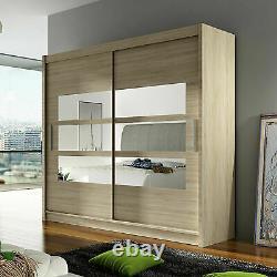 Wardrobe Sliding Door 4 Colours Mirror Shelves Modern Bedroom Closet 180cm NEW