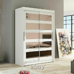 Wardrobe Sliding Doors Mirrors Hanging Rail Bedroom 4 Colours Closet 120 cm NEW