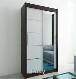 Wardrobe VERONA 2-100 Sliding Doors Hanging Rail Shelves Mirror New