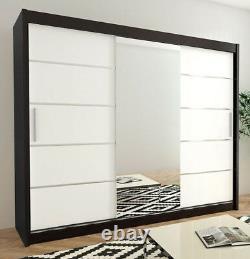 Wardrobe VERONA 2-250 Sliding Doors Hanging Rails Shelves Mirror New