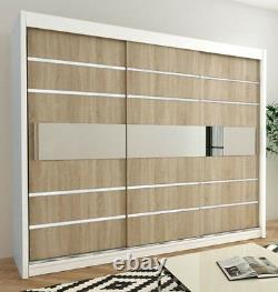 Wardrobe VERONA 3-250 Sliding Doors Hanging Rails Shelves Mirror New