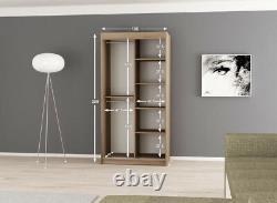 Wardrobe VERONA 4-100 Sliding Doors Hanging Rail Shelves Mirror New