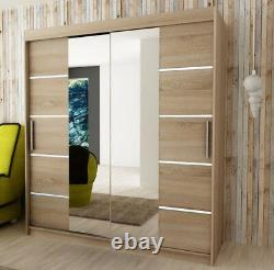 Wardrobe VERONA 4-180 Sliding Doors Mirror Hanging Rail Shelves New