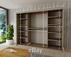 Wardrobe VERONA 4-250 Sliding Doors Hanging Rails Shelves Mirror New