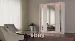 Wardrobe with 2 drawers 3 Sliding Doors Mirrors Modern Bedroom Furniture MRGR180