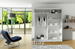 Westa Wardrobe Sliding Doors- With Mirror- Shelves- Hanging Rail White / Oak
