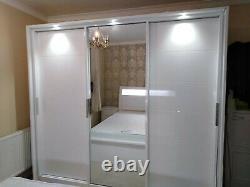 White High Gloss Heavy Duty Mdf Wood Led 3 Sliding Doors Wardrobe