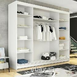 White Wardrobe Sliding Doors Bedroom Rail Shelves Mirror LED Matt Finish 250cm
