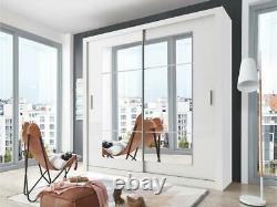 White matt wardrobe CLEO 32 180cm 2 sliding mirrored doors